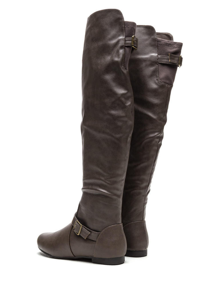 Ride On Faux Leather Buckled Boots TAUPE (Final Sale)