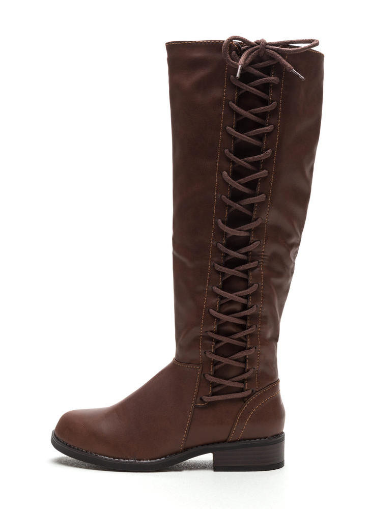 Laced The Test Faux Leather Boots BROWN (Final Sale)