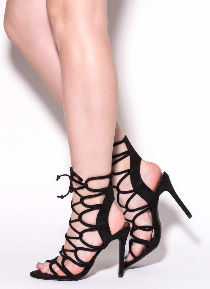 In A Web Faux Suede Heels BLACK