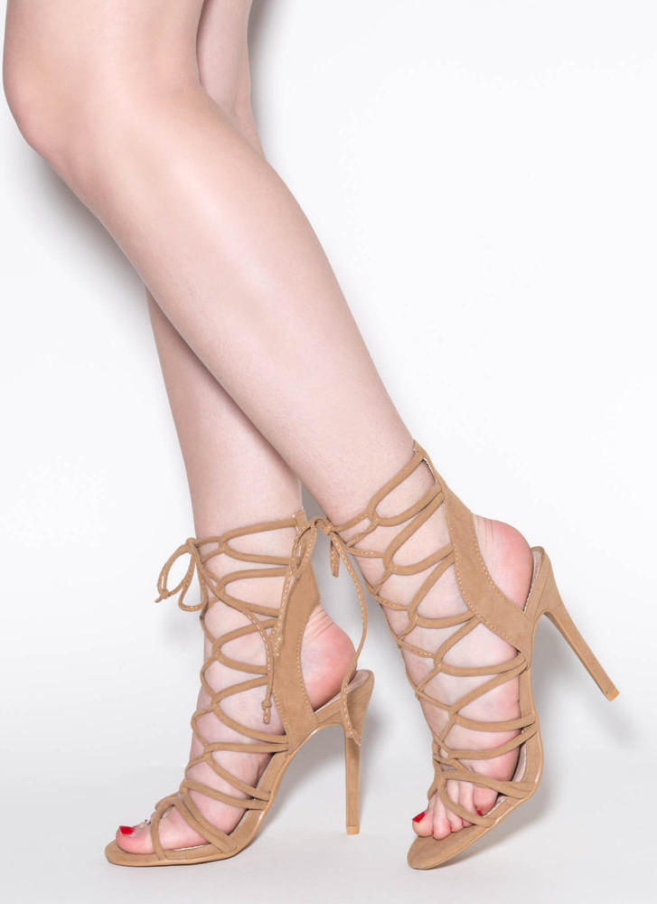 In A Web Faux Suede Heels