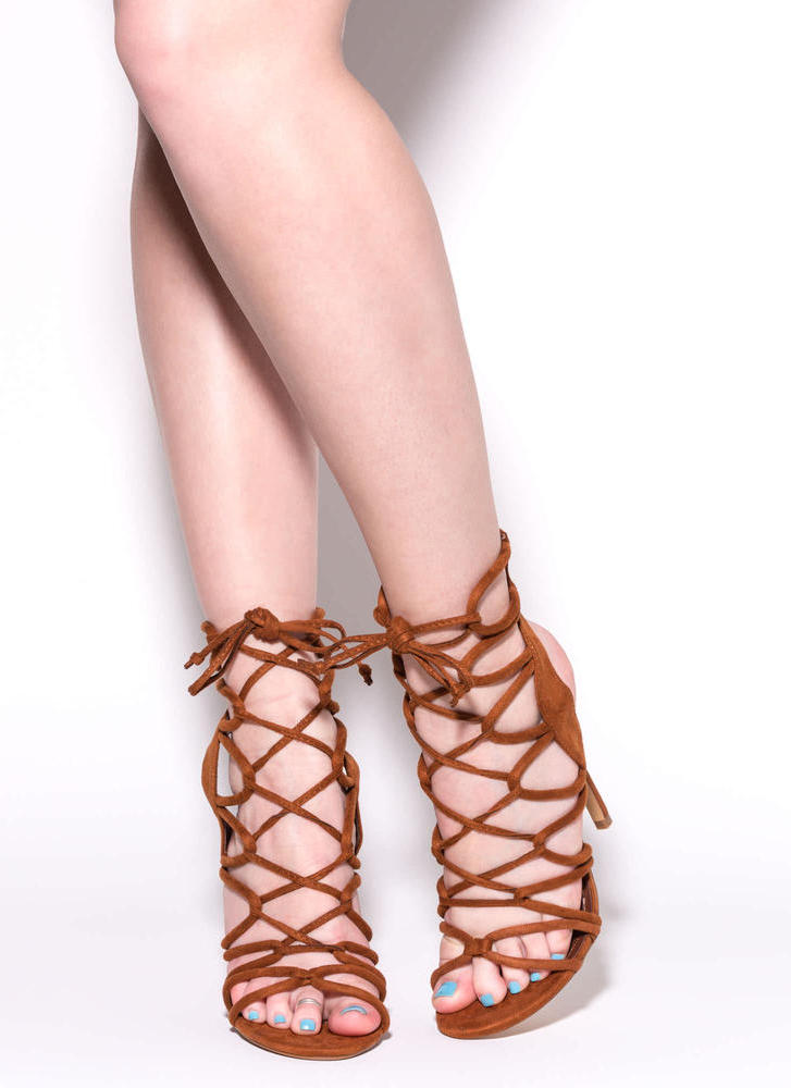 In A Web Faux Suede Heels CHESTNUT