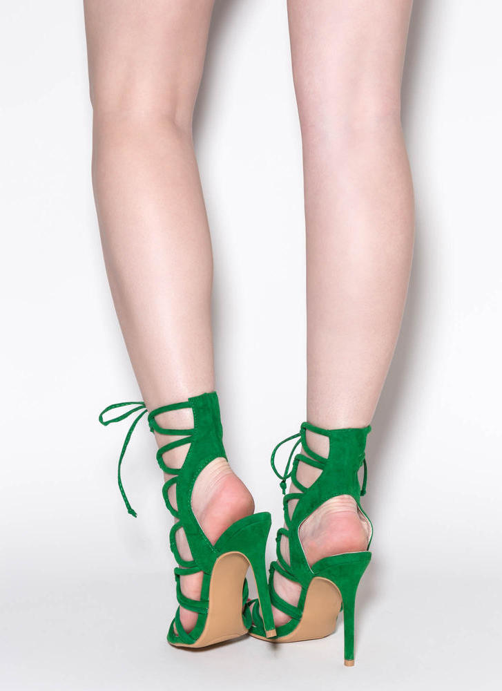 In A Web Faux Suede Heels GREEN