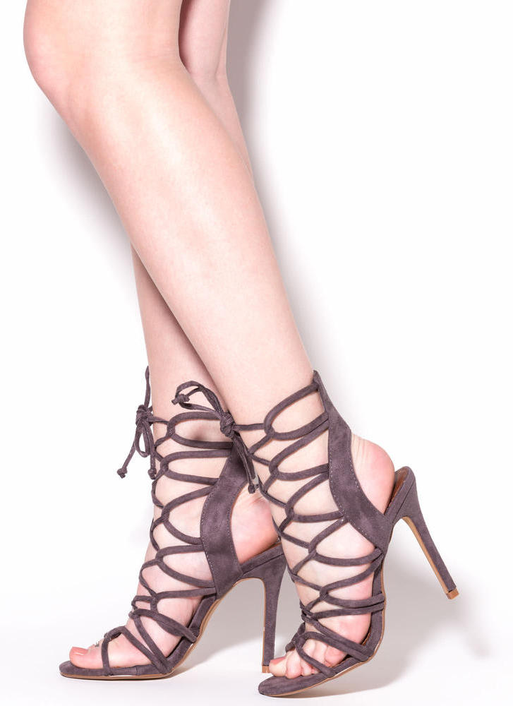 In A Web Faux Suede Heels GREY