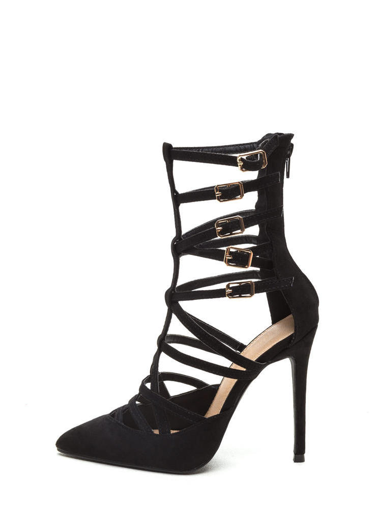 Caged Over Faux Suede Heels