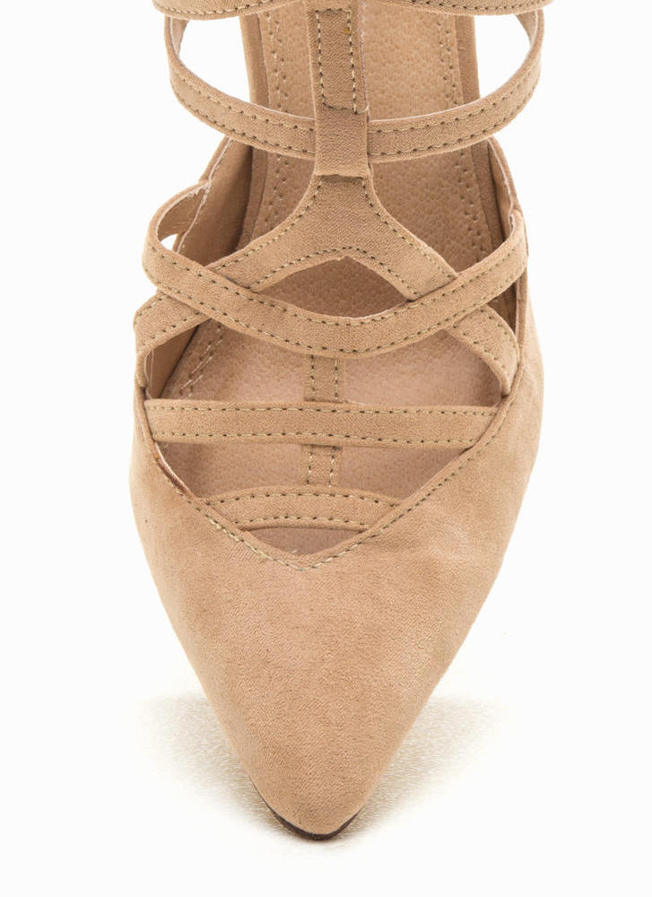 Caged Over Faux Suede Heels NUDE