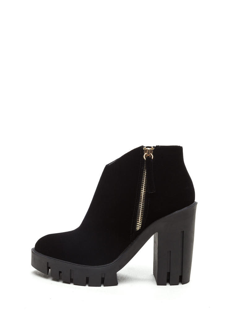 Velvet Love Chunky Platform Booties BLACK (Final Sale)