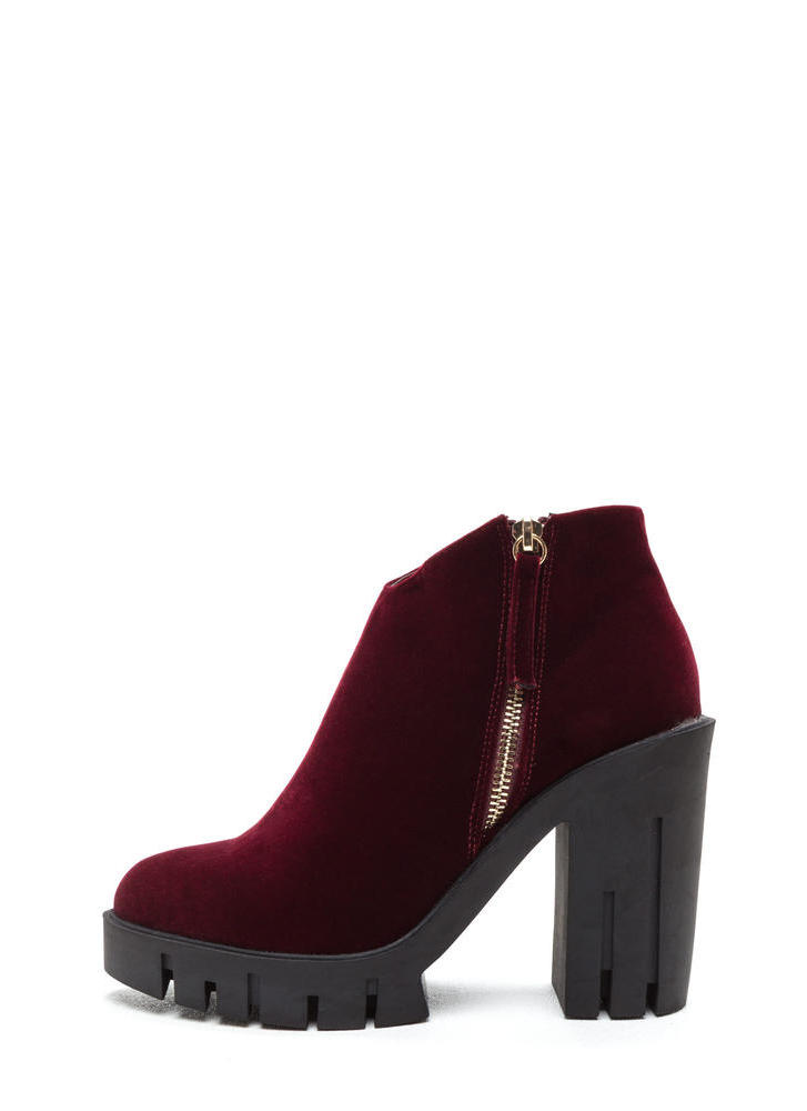 Velvet Love Chunky Platform Booties WINE (Final Sale)