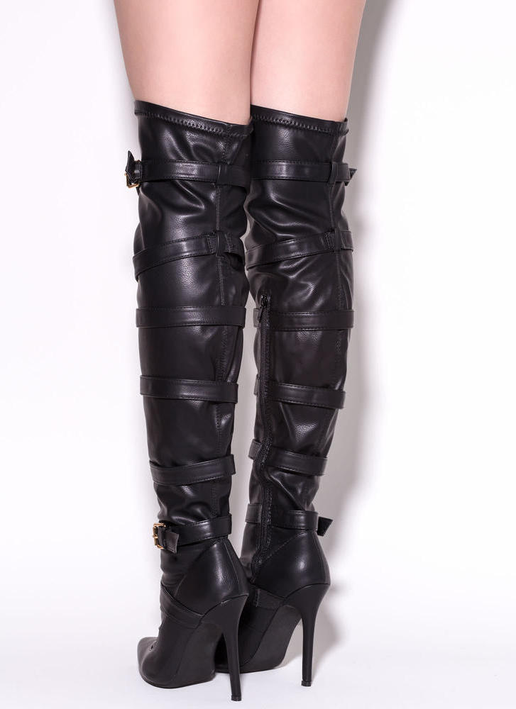 Strap 2 The Top Over-The-Knee Boots BLACK (Final Sale)