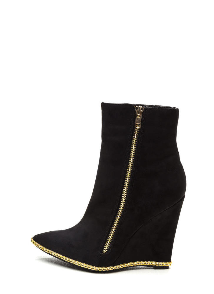 No Chain No Gain Wedge Booties BLACK