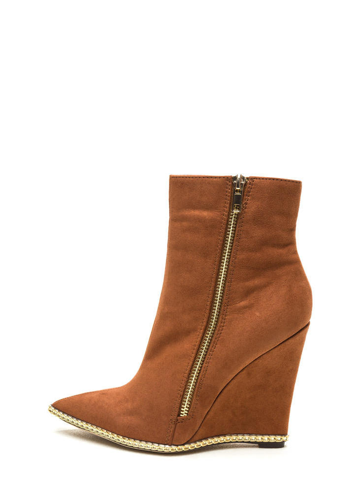 No Chain No Gain Wedge Booties TAN