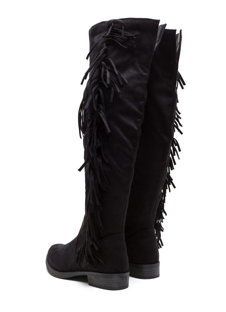 Fringe Fan Faux Suede Boots BLACK (Final Sale)