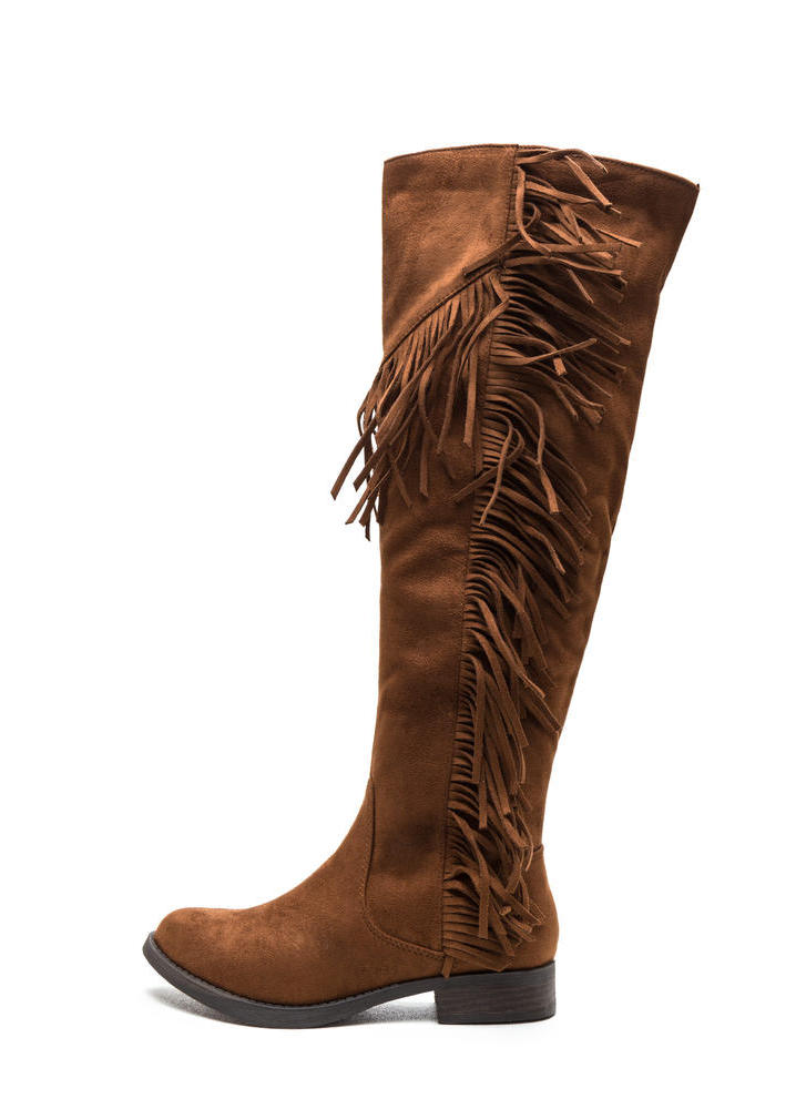 Fringe Fan Faux Suede Boots COGNAC (Final Sale)