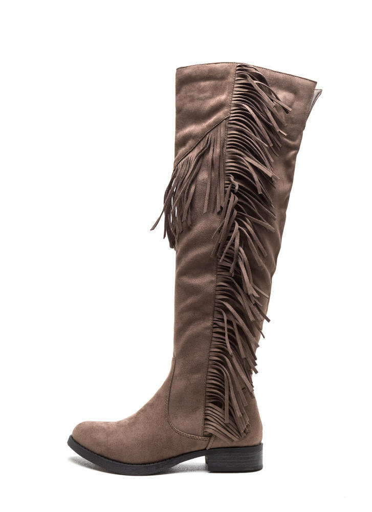 Fringe Fan Faux Suede Boots DKTAUPE (Final Sale)