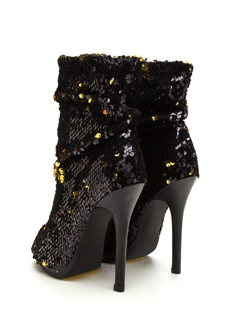 Sequin Seekers Slouchy Booties BLACK