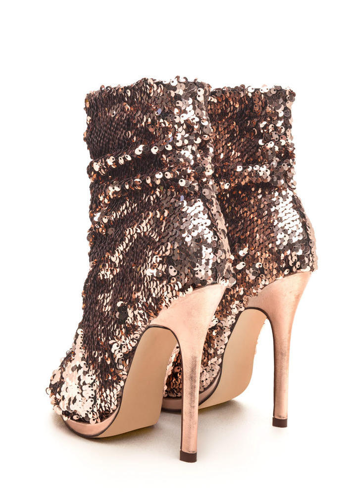 Sequin Seekers Slouchy Booties ROSEGOLD