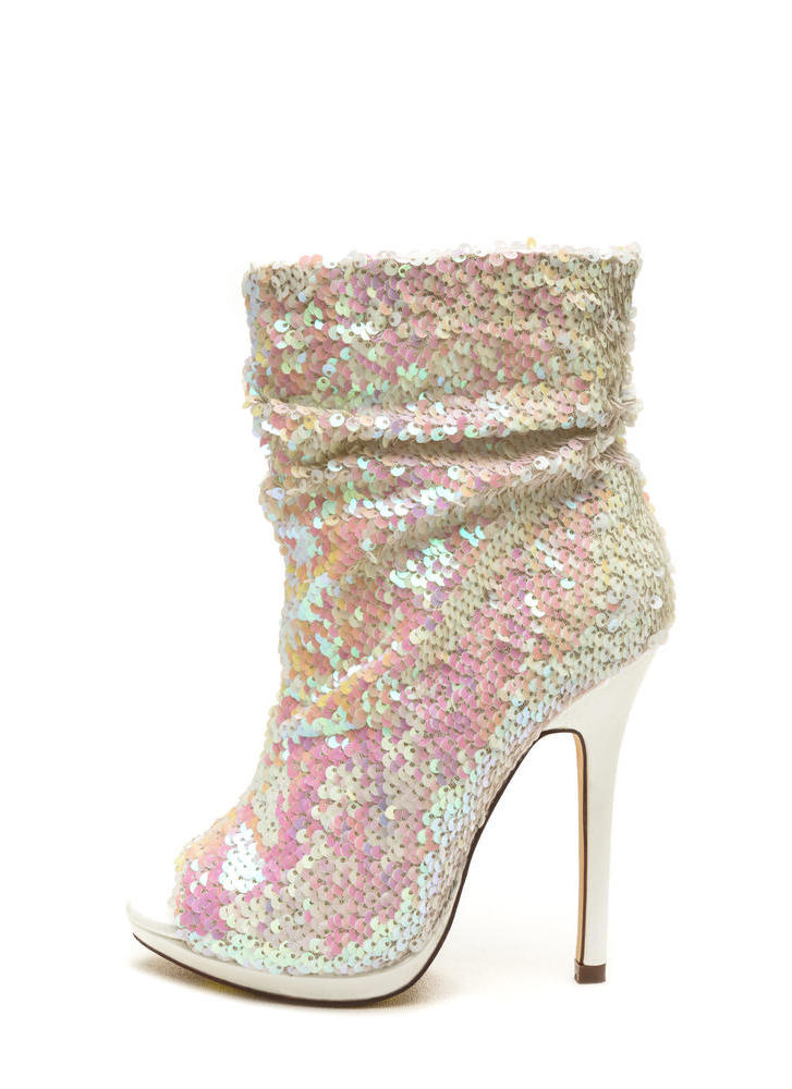 Sequin Seekers Slouchy Booties WHITE