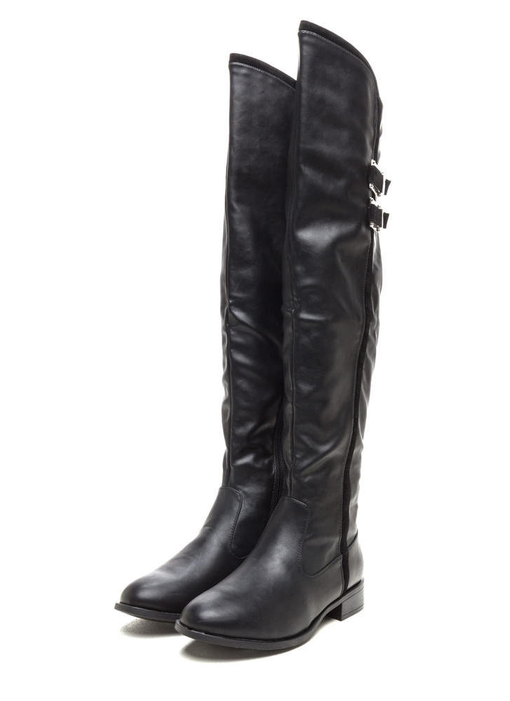 Add The Trimmings Faux Leather Boots BLACK