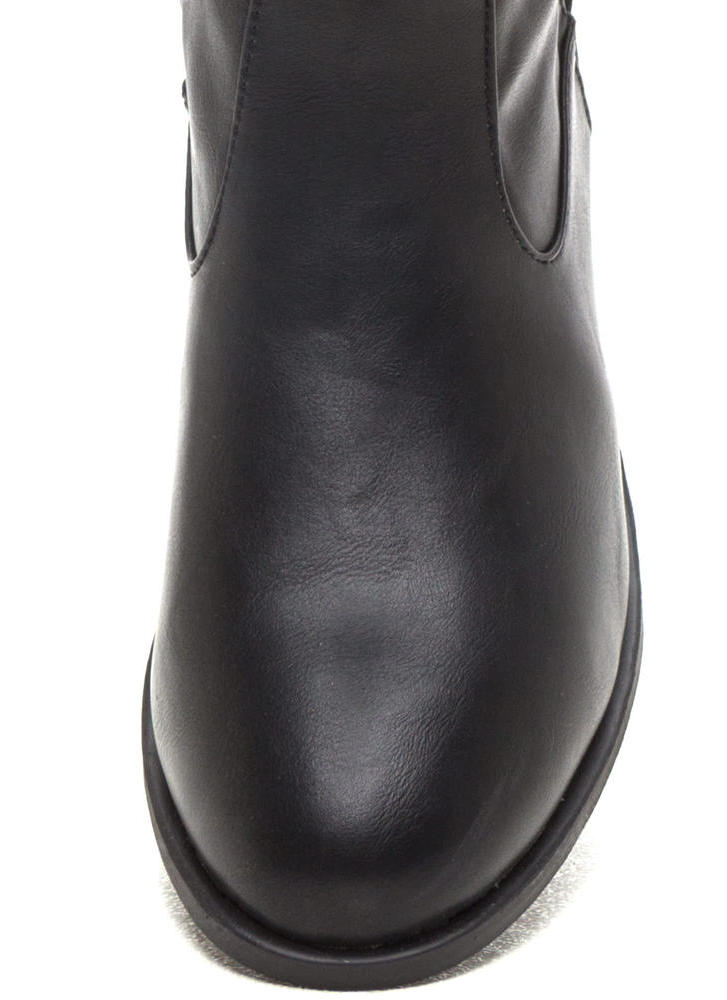 Add The Trimmings Faux Leather Boots BLACK (Final Sale)