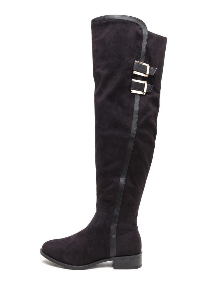 Add The Trimmings Faux Suede Boots BLACK