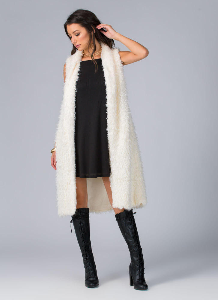 Touch Of Luxury Faux Fur Vest IVORY