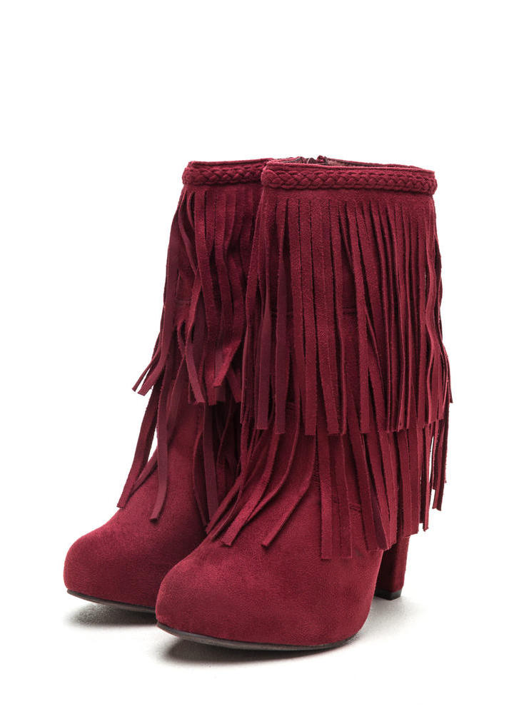 Focus On Fringe Faux Suede Booties BERRY (Final Sale)