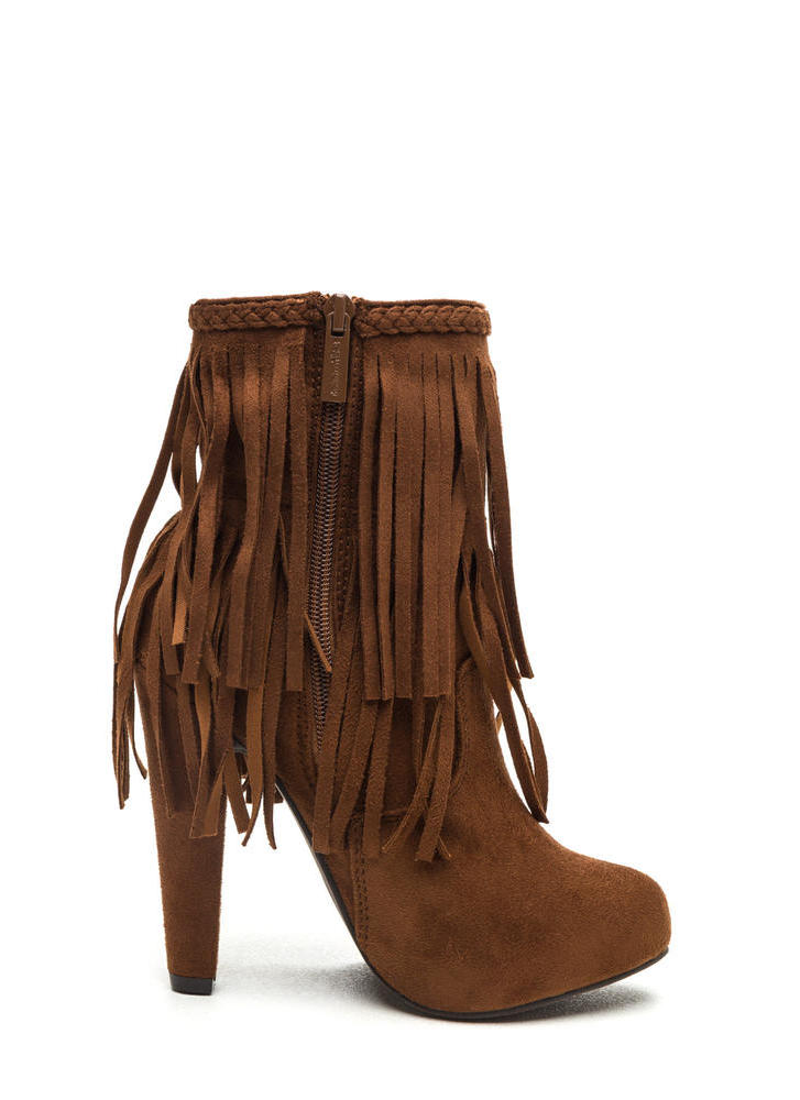 Focus On Fringe Faux Suede Booties TAN (Final Sale)