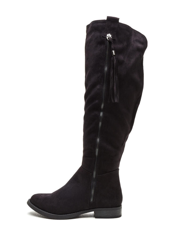 Time For Tassels Faux Suede Boots BLACK (Final Sale)