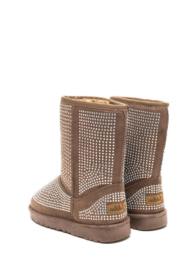 Rhinestone Ready Faux Suede Boots TAUPE (Final Sale)
