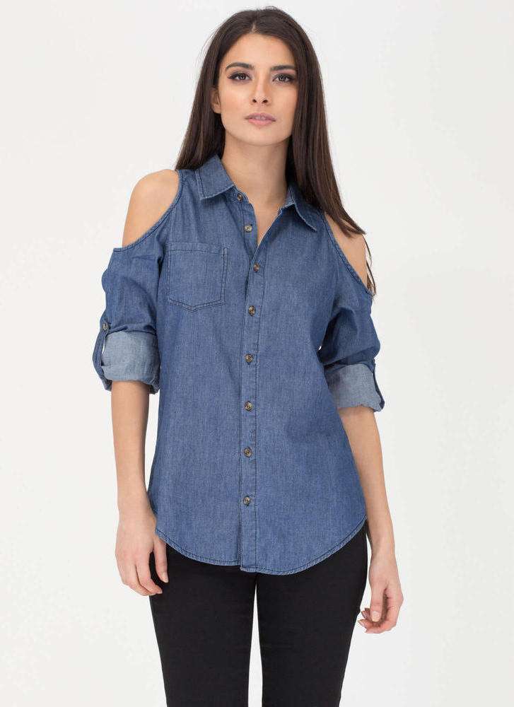 Chambray Dream Cold Shoulder Shirt