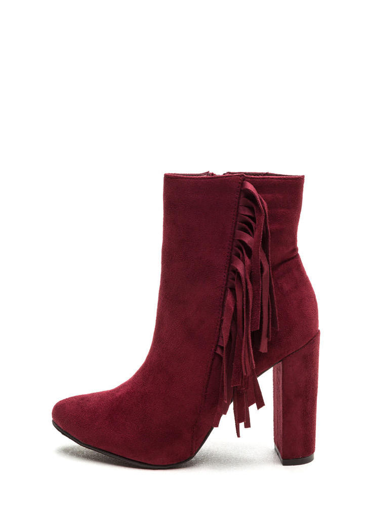Fringe-Off Chunky Faux Suede Booties