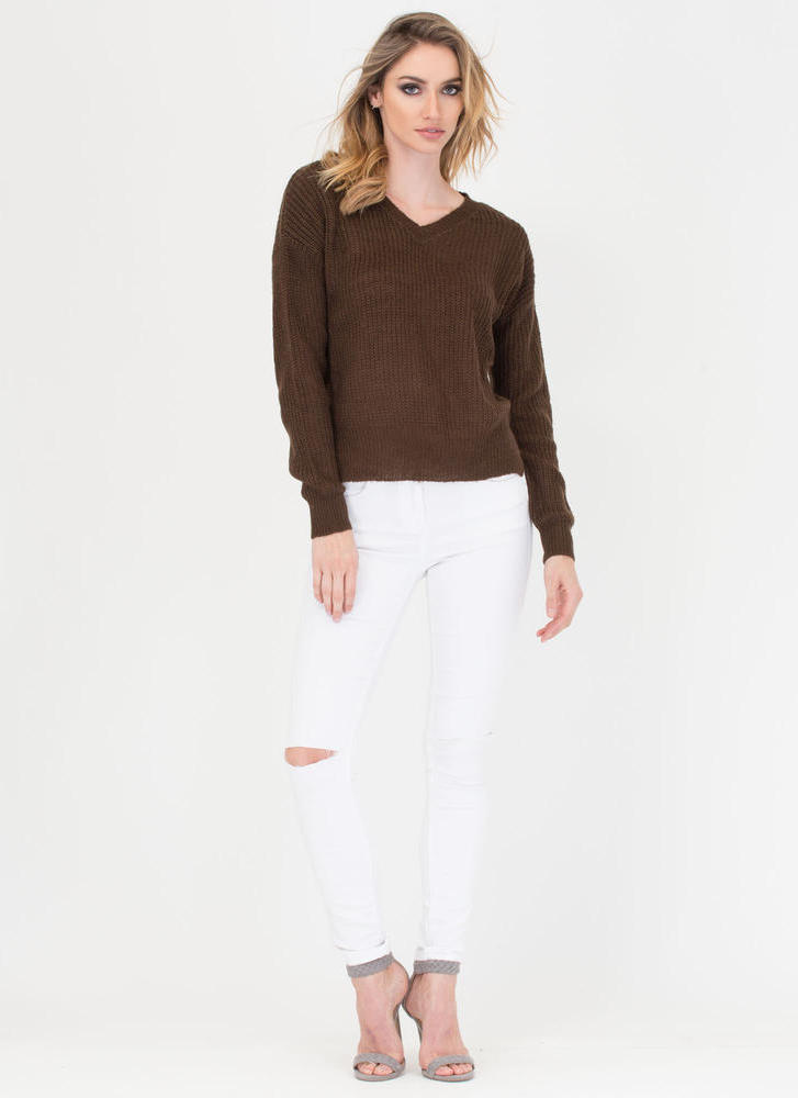 V Great Knit Sweater BROWN