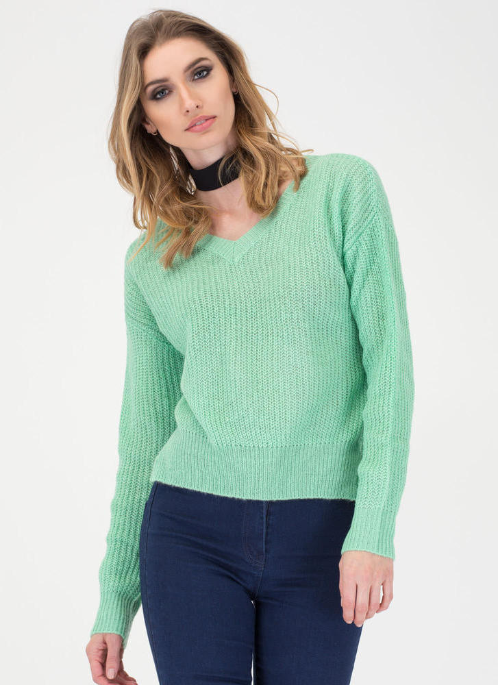 V Great Knit Sweater MINT