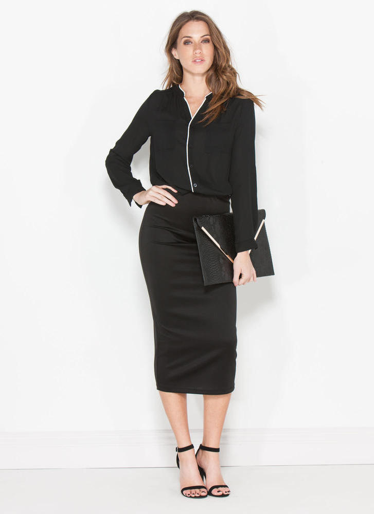 Pipe Down Two-Toned Button-Up Blouse BLACK
