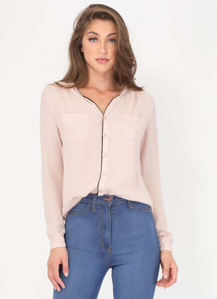 Pipe Down Two-Toned Button-Up Blouse