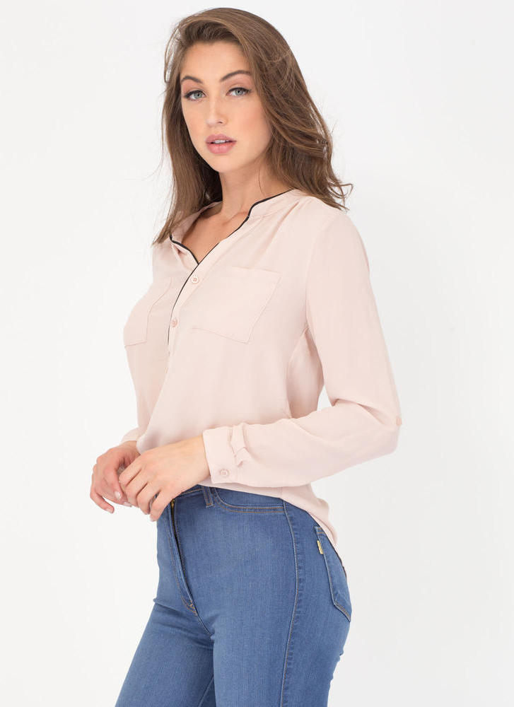 Pipe Down Two-Toned Button-Up Blouse KHAKI