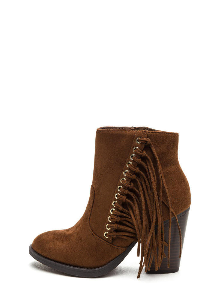 Fringe Friend Faux Suede Booties COGNAC