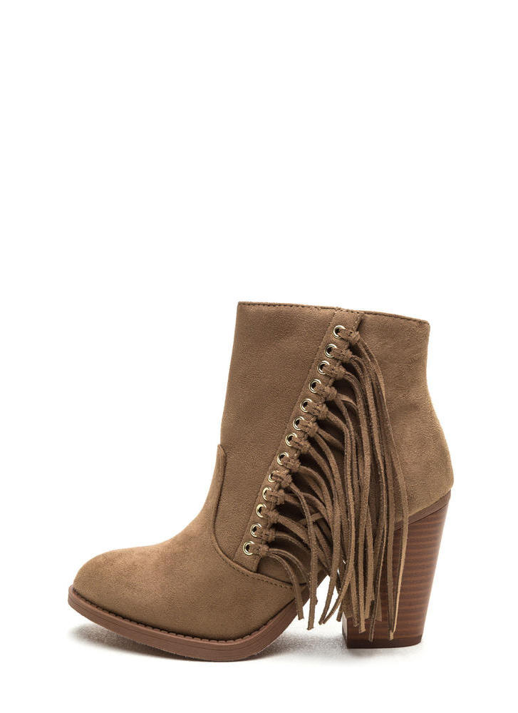 Fringe Friend Faux Suede Booties LTTAUPE