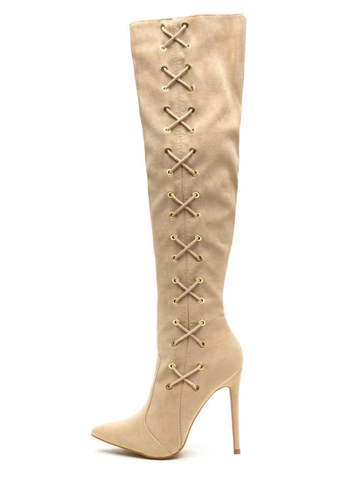 Corsets On Pointy Faux Suede Boots NUDE