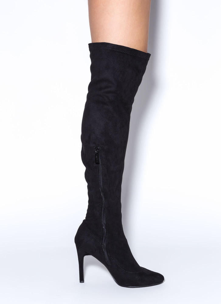 Smooth Trip Over-The-Knee Boots BLACK