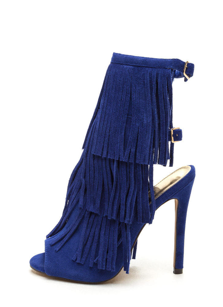 Fringe Frenzy Faux Suede Booties BLUE