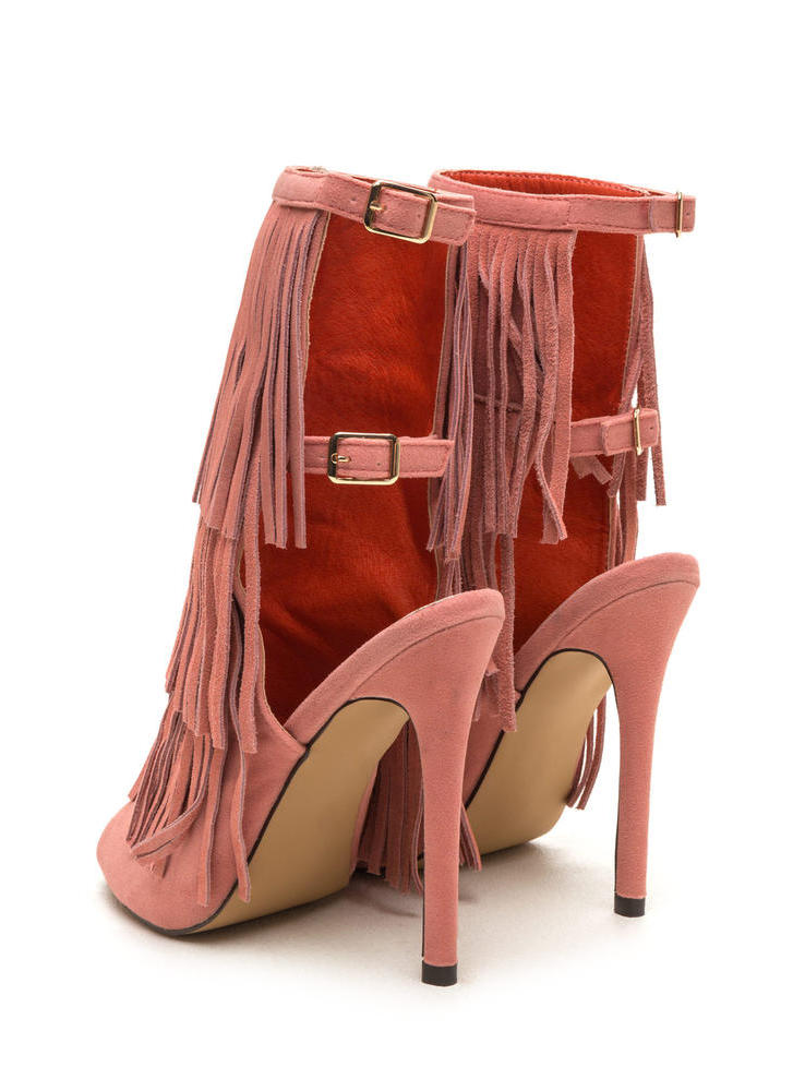 Fringe Frenzy Faux Suede Booties BLUSH