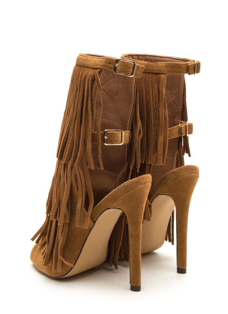 Fringe Frenzy Faux Suede Booties CAMEL