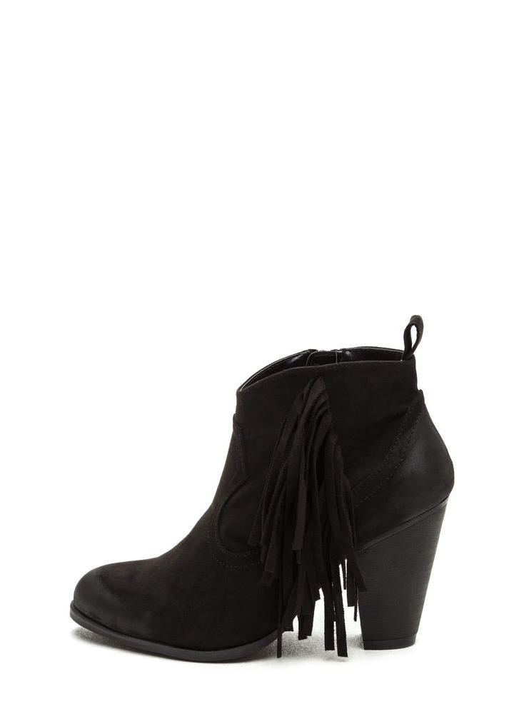 Ride A Cowgirl Fringed Chunky Booties BLACK