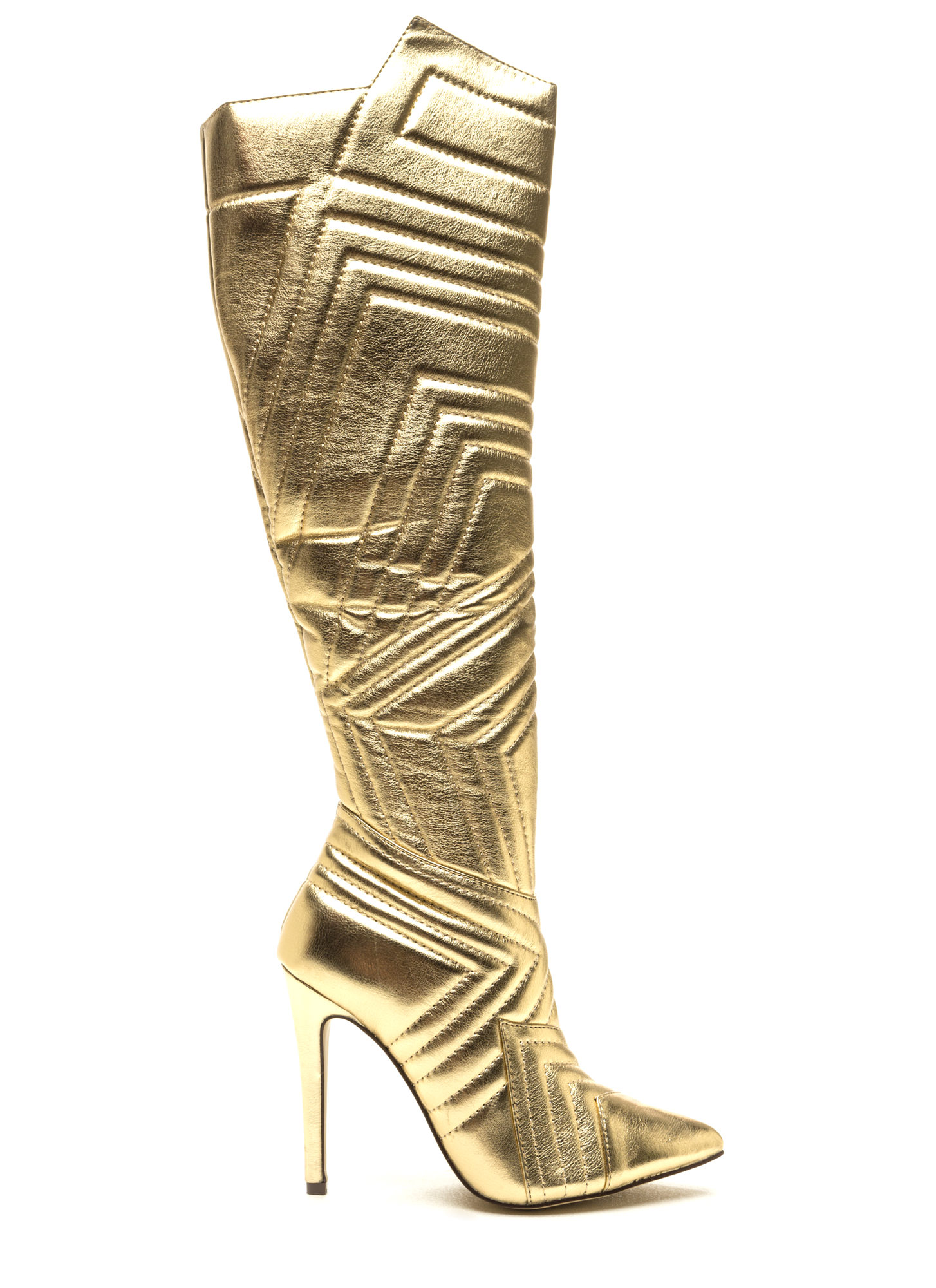 Quilted Wonder Metallic Boots GOLD
