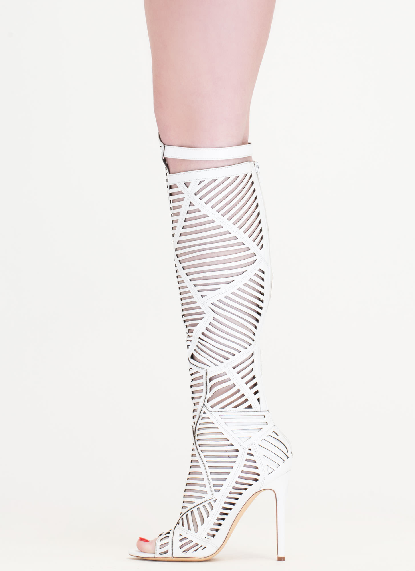 Shape Play Slit Cut-Out Boots WHITE