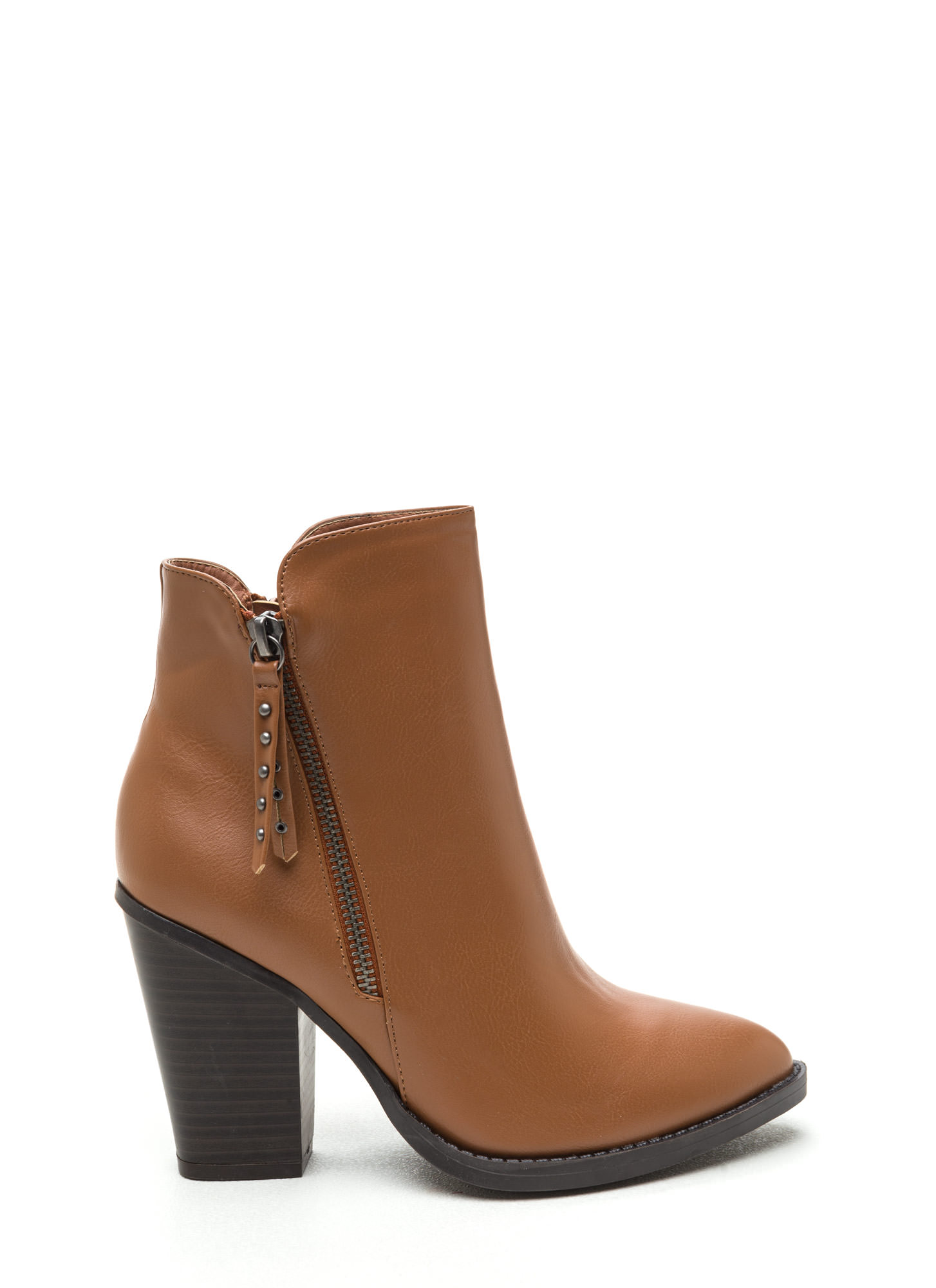 Smooth Stud Chunky Faux Leather Booties COGNAC