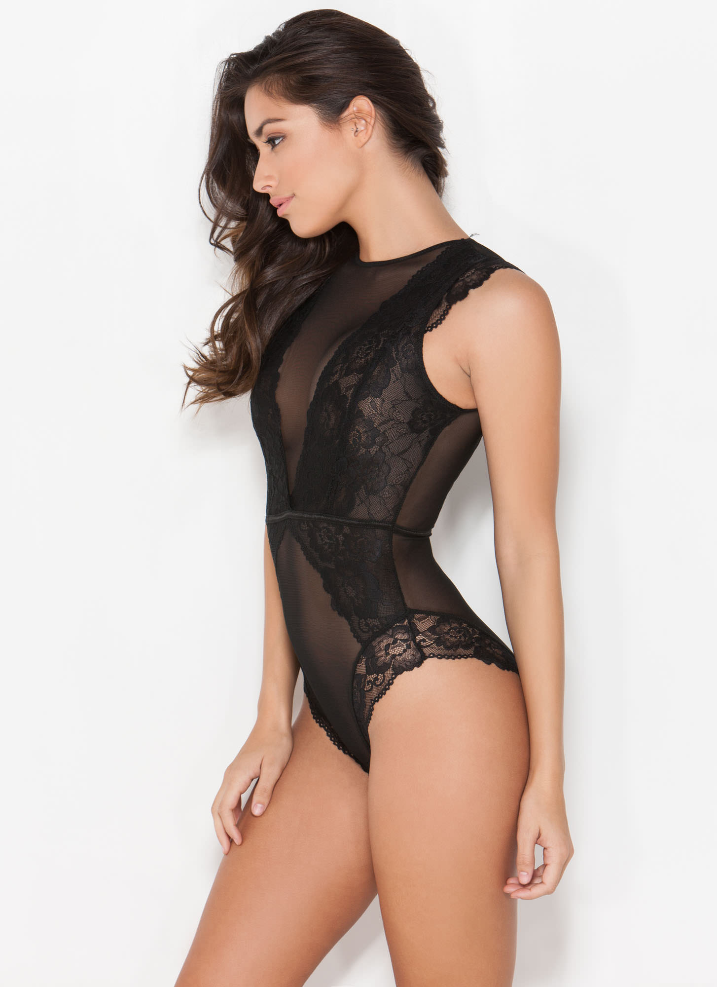All Night Long Lace 'N Mesh Teddy BLACK (Final Sale)