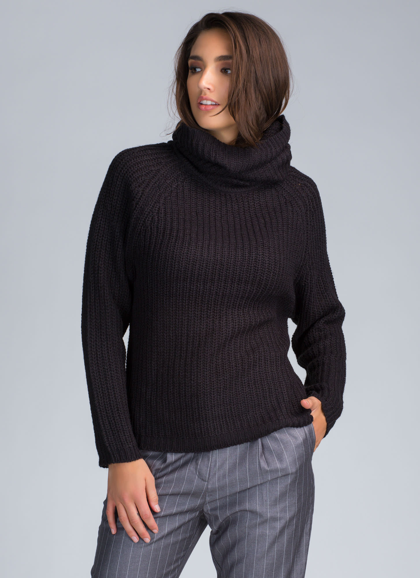 Knit Me Baby Cowl Neck Sweater BLACK