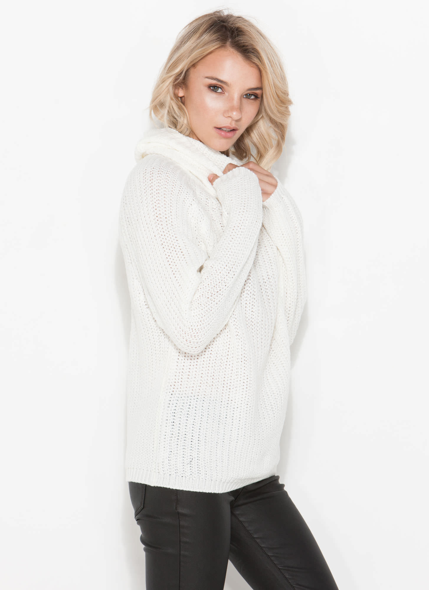 Knit Me Baby Cowl Neck Sweater IVORY