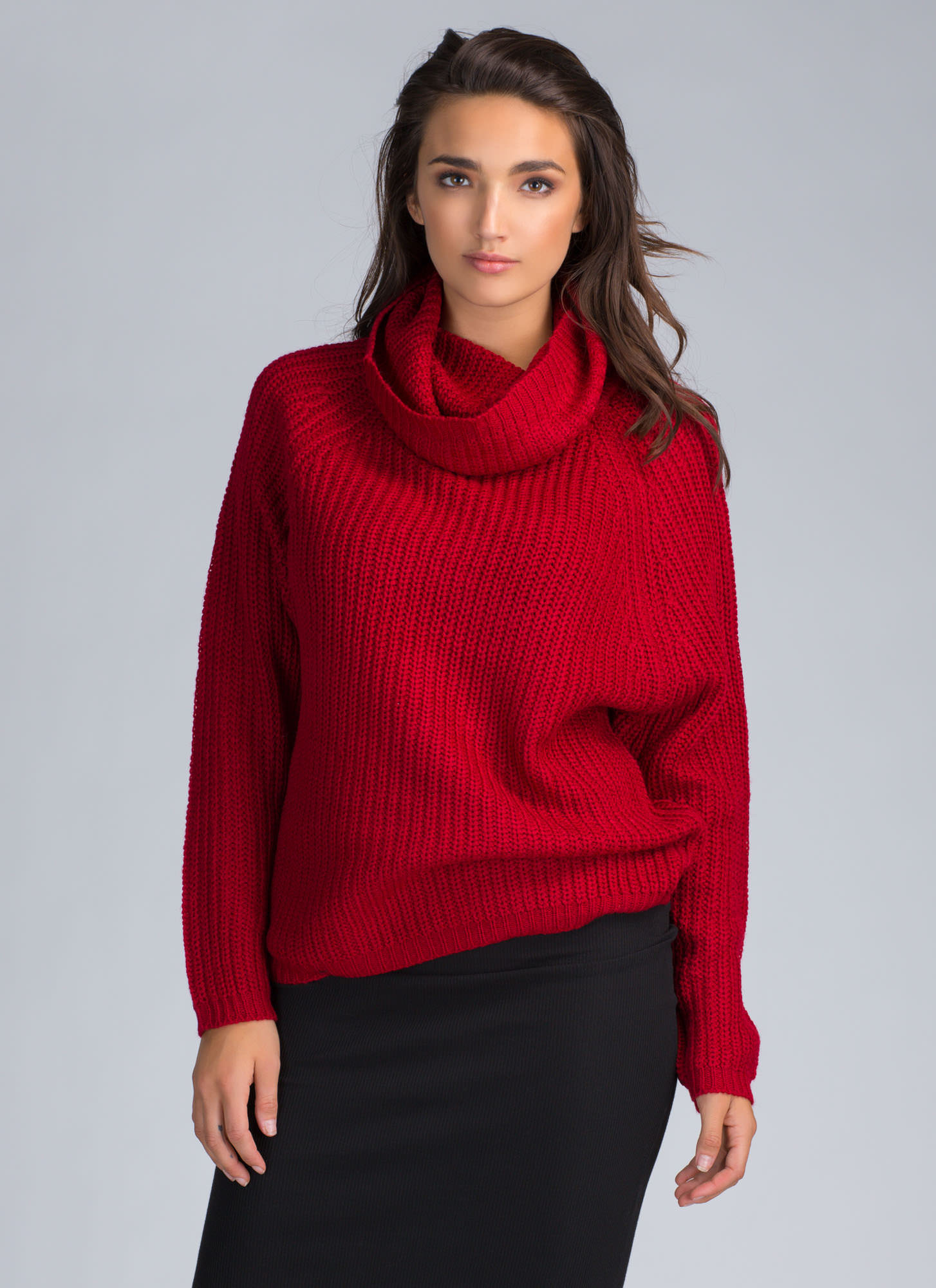 Knit Me Baby Cowl Neck Sweater RED